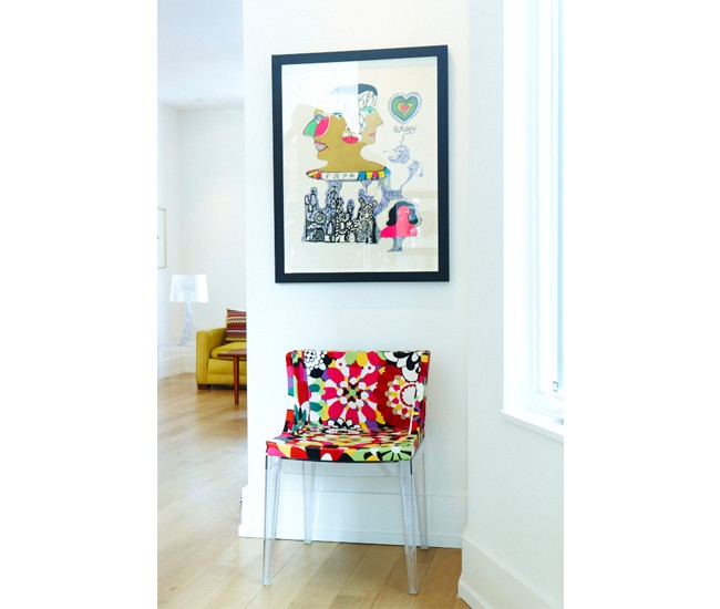 Mademoiselle chair and Bougie lamp (in back) by Kartell. Available at Quasi Modo. Photo by Naomi Finlay.