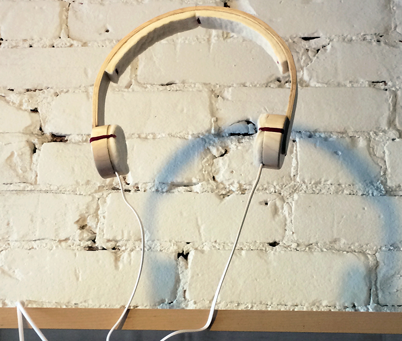 The National Design Collective's portable headphone made from reclaimed maple and felt, as part of Maple Leaf Forever at Agora Café.