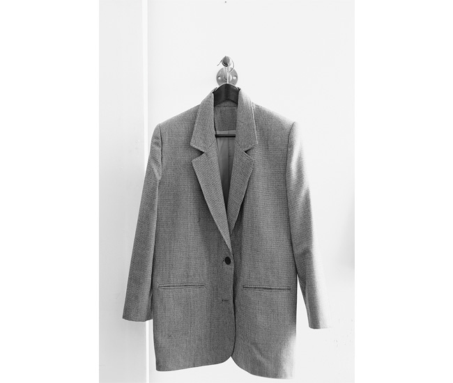 Wool jacket made with Bálint's grandmother's pattern, $380.