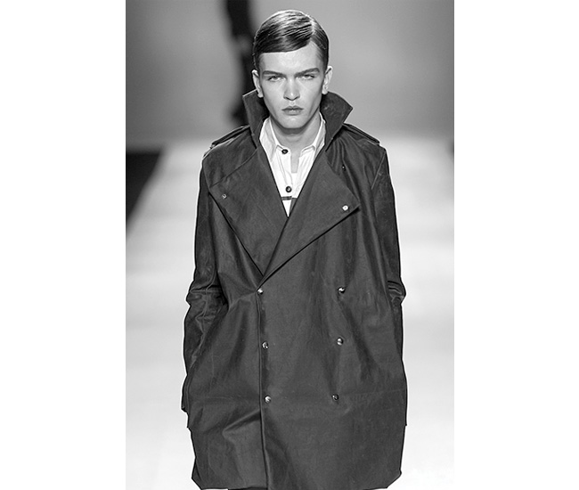 A-line trench with oversized lapels and brass buttons, $420. Photo by Michael Ho.