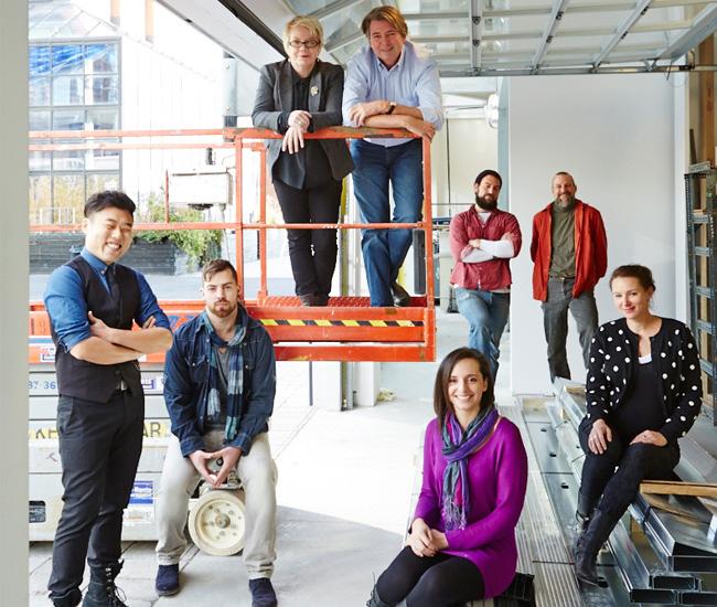 On the lift: Melanie Egan and Ted Pickering. Harbourfront Centre artisans, left to right: Jay Joo, Shane McNutt, Filipa Pimental, Clayton Haigh, Brad Copping and Eva Milinkovic.