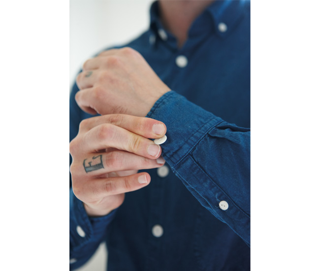 Indigo-DYED button-UP, cotton, hand-pierced porcelain buttons.