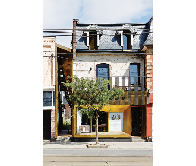 Ja Architecture's space (dubbed The Twofold) on West Queen West was crafted in collaboration with Arta Design Build. The mixed-use houses its studio at top, an apartment on the second floor and, via a back entrance, Chantecler's new tapas spot – Bar Fancy – at street level. Ja plans to host art exhibitions in the covered side passageway.
