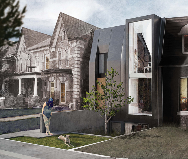 Dovercourt Road House's landscape design is tiered, stepping down from street level to the lower unit.
