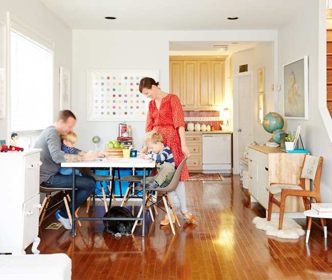9 Anticipate crayons. In this dining room/atelier, chairs are from Design Republic; dotted silkscreen by Beejoir.