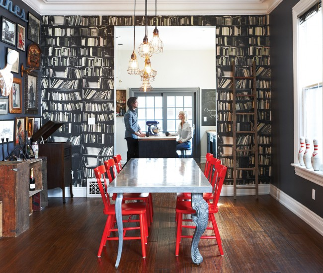 1 Contrast traditional and contemporary elements. Wallpaper by Deborah Bowness; table legs by Castor; custom tabletop by Concrete Elegance; IKEA chairs; lights from Phil'z. Photo by Naomi Finlay.