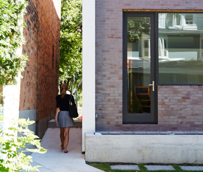 That's not the main entrance of this Hillcrest Village home – it's around the corner. Endicott brick from Thames Valley; windows and doors by Ridley Inc.