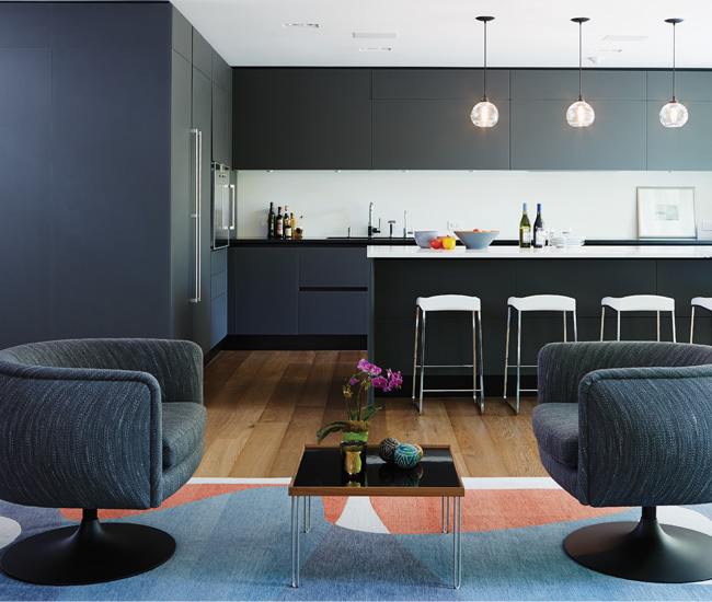 8 Use colour to create a cohesive interior. Paul and Wendi Bonder's renovated Rosedale home becomes a rhapsody in blue thanks to surprising touches like grey-blue glass cabinetry.