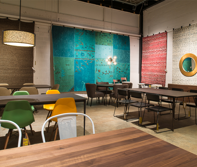 Elte Market retails rugs and furniture priced for first-time homeowners.
