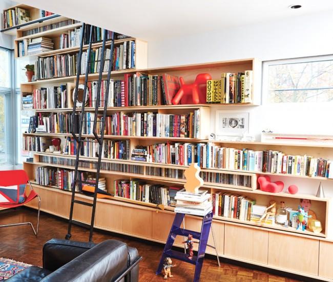 2 Make space for your stuff. Architect Luc Bouliane designed this behemoth bookcase for Azure editor Catherine Osborne and her husband, Kaspar deLine.