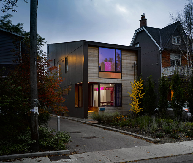 6 Cast a glow. Alexandra Palmer's small Parkdale home – designed by LGA Architectural Partners – piques the curiosity of passersby with an LED display in the stairway. Photo by Ben Rahn/A-Frame.