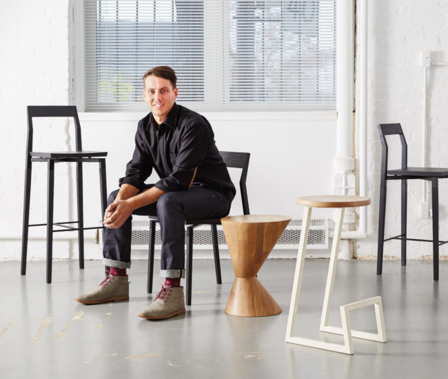 From left to right: Parkdale counter stool, Parkdale dining chair, Old Town stool off axis, Corktown bar stool, Parkdale bar stool. All available at Klaus (300 King St E).