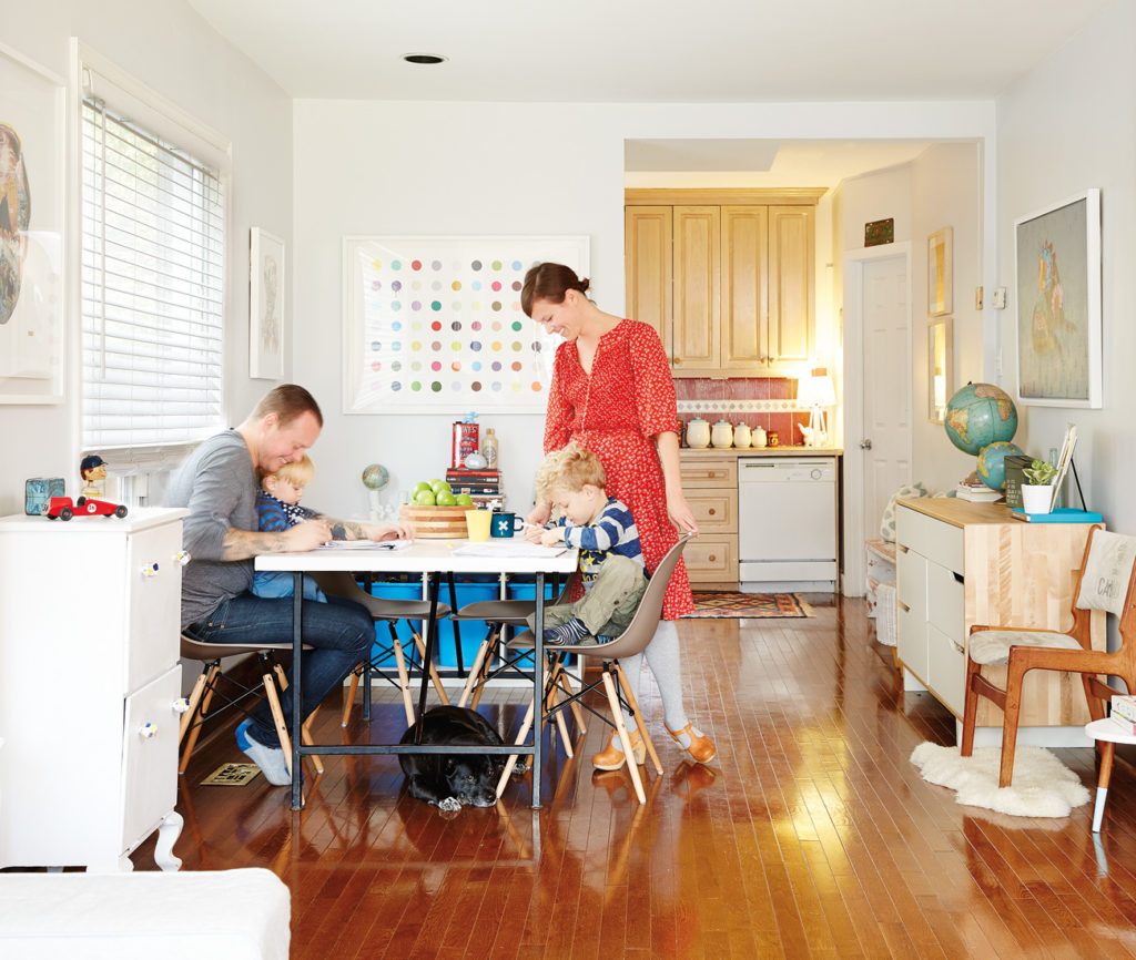 In the dining room/atelier, chairs are from Design Republic; dotted silkscreen by Beejoir.