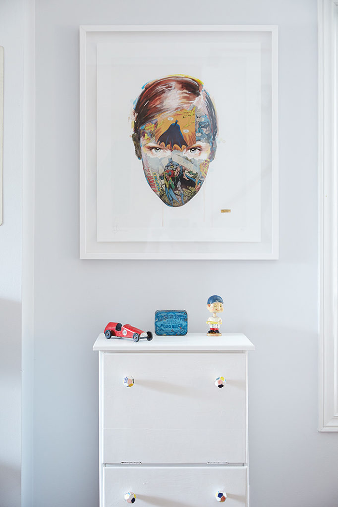 Original collage-painting, The Cage: Family Blood HPM, by Sandra Chevrier. The tin and dresser are fixed-up finds; bobble head and race car from Goodfolk.