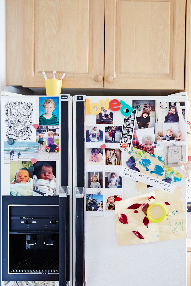 The family fridge features artwork by up-and-coming talents Selby and Noell.