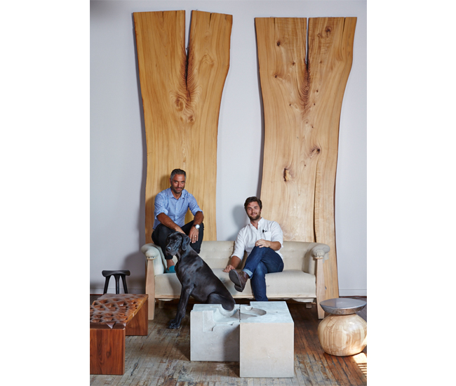 Robert Koblinsky and Jeff Forrest (with Charles) among, left to right: Stool by LMBRJK; bench by Partisans; Stacklab's cementitious cubes and an Ash A356.0 series stool. Photo by Naomi Finlay.