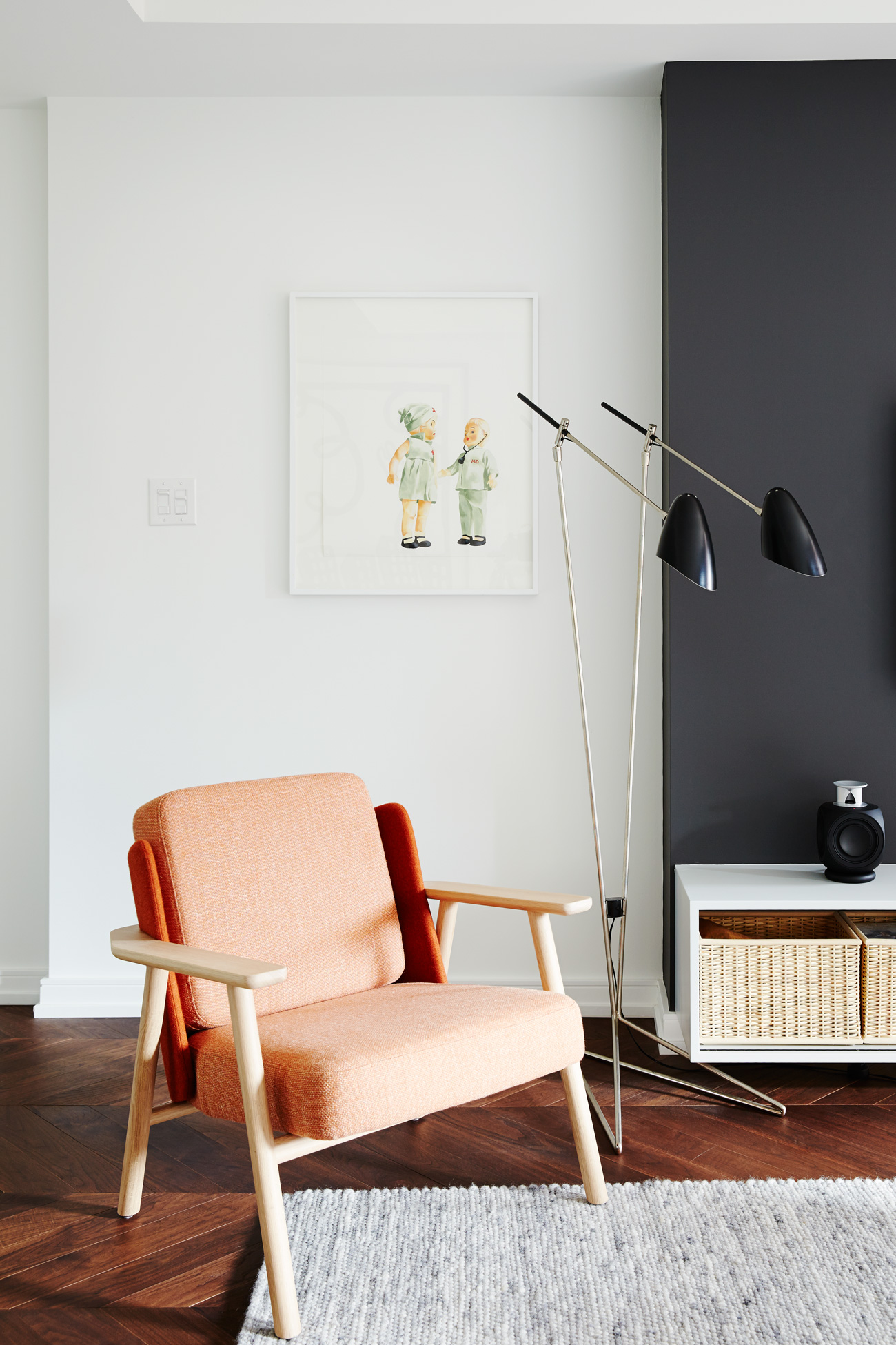 Artful vignettes abound. Chair by Alki; giclee print by Heather Millar; lamp from Avenue Road; console designed by Milne.