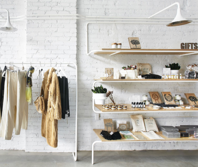 Lover's Land, an edgy Ossington bridal boutique designed by Castor last year. Photo by Peter Andrew Lusztyk.