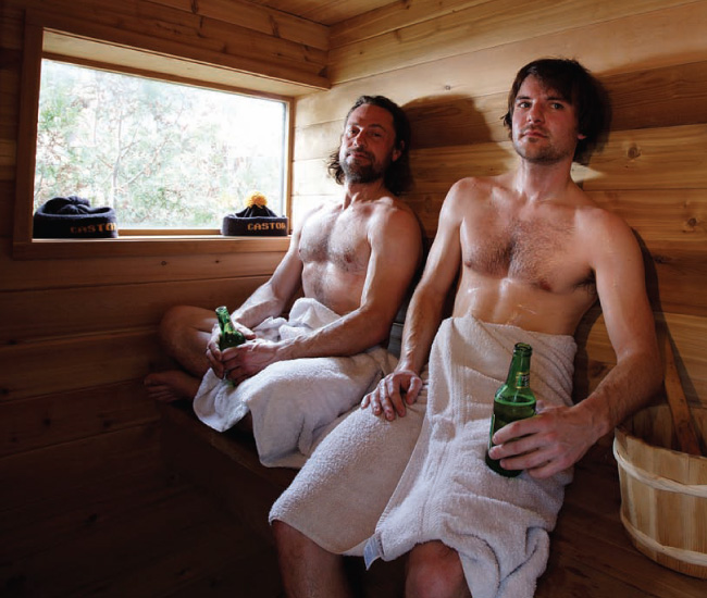 Brian Richer, left, sits in a sauna with Object/Interface's Ryan Taylor in a photo from a 2007 DL story about local designers' favourite spots to chill out.