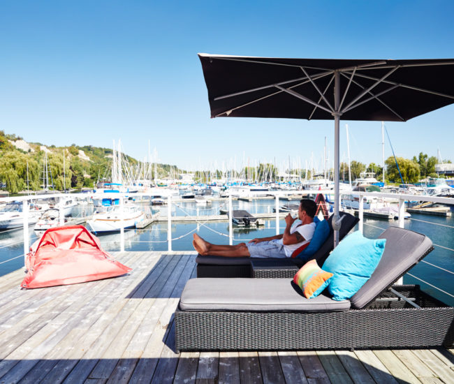 Peic's 74-square-metre deck provides ample entertaining space. Pillows from CB2.