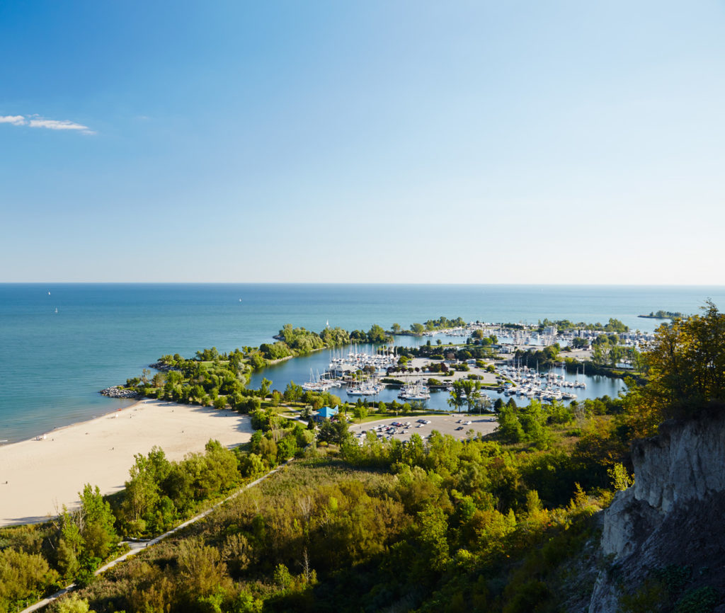 An aerial view of Bluffer's Park Beach and the float homes moored nearby.