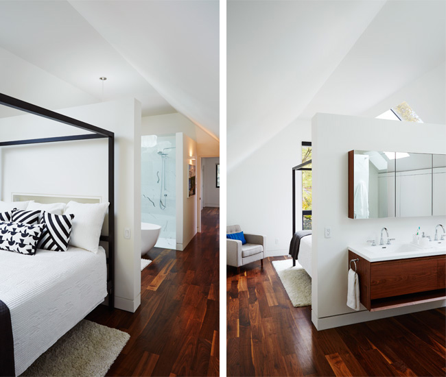 9 Link your bed and bathroom with a partial wall. Velux skylights illuminate the cathedral space. Custom vanity with seamless countertop by Rubi; chair from EQ3; bed from Room and Board. Photo by Naomi Finlay.