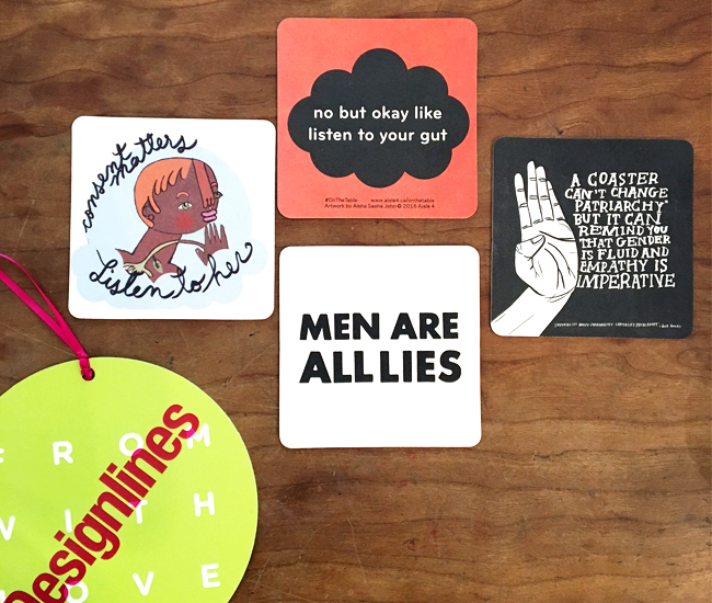 Curated by Aisle 4, On the Table is a mobile and collectible art project that encourages patrons to visit participating bars and restaurants, order a drink, keep the coaster and – most importantly – engage in a conversation about gender-based and sexual harassment in public spaces. Produced with the support of the City of Toronto through the Toronto Arts Council, the coasters, featuring original artwork by Toronto artists Jesse Harris, Aisha Sasha John, Hazel Meyer, and Lido Pimienta, bring attention to these issues in an eloquent way. Participants include Cold Tea, 60 Kensington Ave; Get Well, 1181 Dundas St W; Gladstone Hotel, 1214 Queen St W; Track & Field, 860 College St; Unlovable, 1215 Dundas St W and Wenona Craft Beer Lodge, 1069 Bloor St W. Tagged by Tory Healy.