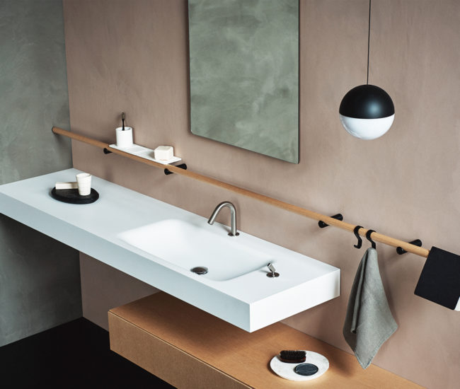 Sensational bathroom fixtures and decor that will have you singing in the shower, including the Dot Line shelving system by Agape.