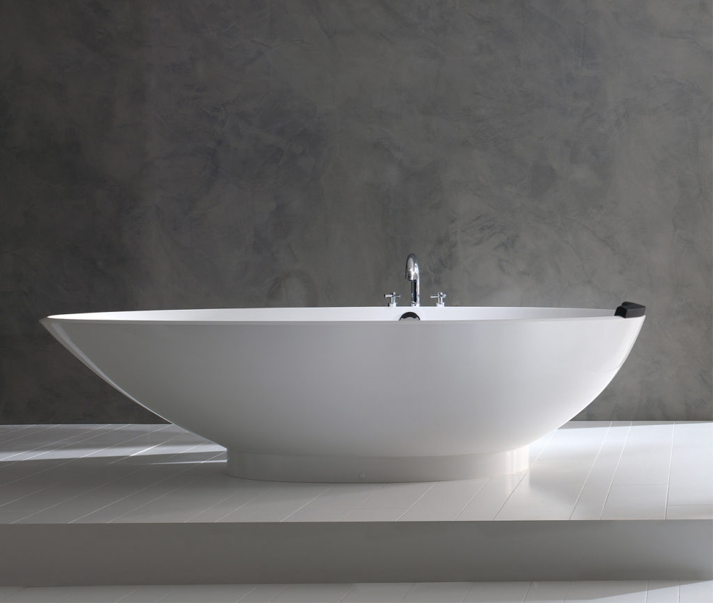 Let the latest lavatory trends wash over your space with current tubs and fittings. Napoli tub by Victoria and Albert.