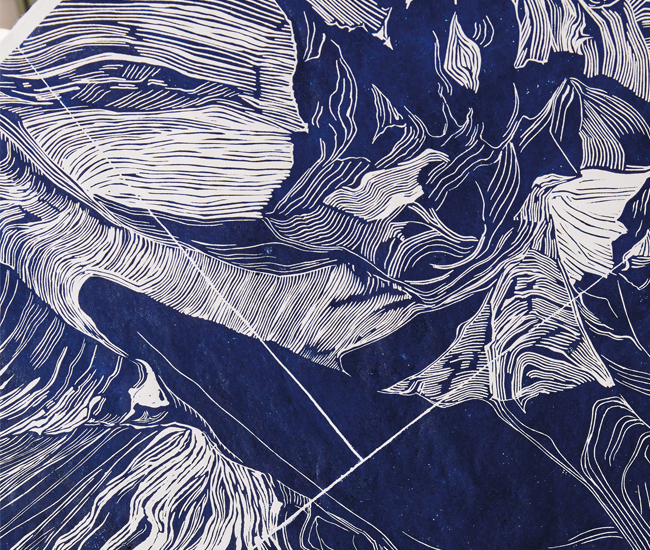 The limited-edition lino prints showing at AGO are 1.5 by 2.1 metres in size. Depicting snowdrifts that naturally form in the Arctic, the image was made over four months. It is printed by hand with spoons on Haini Kozo shoji paper from The Japanese Paper Place using an oil-based ink.