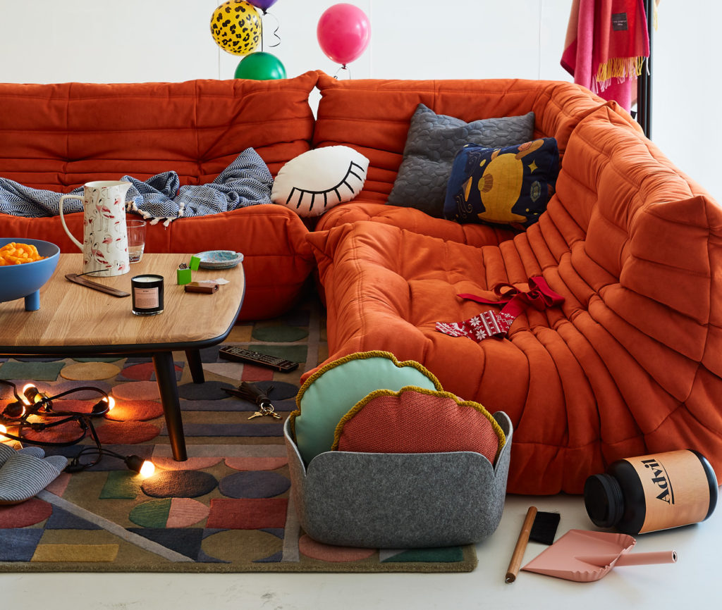 Togo sofas, Stua coffee table, plus floorlamp and coat tree by ligne roset at Kiosk