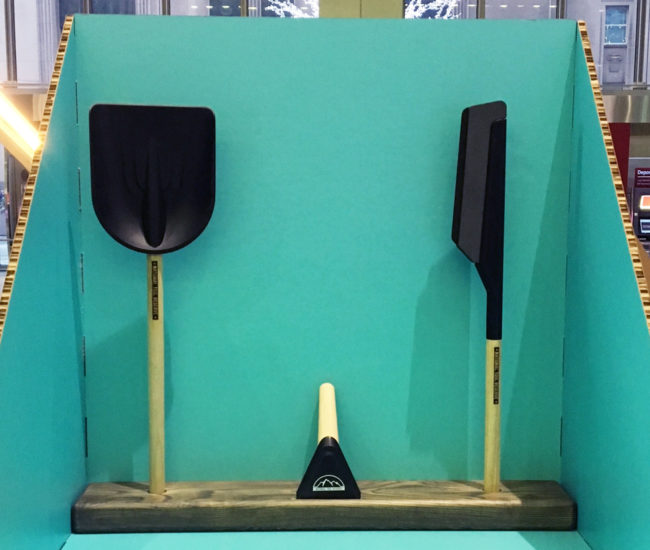 Also found at the IIDEX Woodshop show is this set of snow tools by Adam Shepperdly of Shepp Industrial Design Inc. We love the stowable size, easy grip and ideal weight of the ice scraper, mini shovel and snow brush and that these attractive (!) tools are made locally from fallen ash. (Commerce Court, West Tower Lobby, 199 Bay St.)