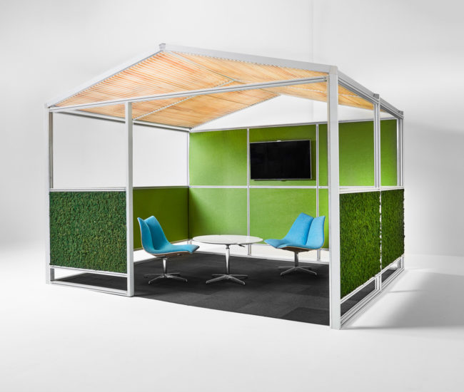 Designed by Nienkämper, the Gazebo Meeting Pod incorporates green elements while solving a problem many open-plan workspaces face – a lack of private space.