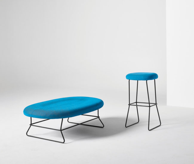 Equally suitable for office or lounge applications, the Busk + Herzog-designed Caravite bench and stool place a contoured seat atop a light, delicate metal frame.
