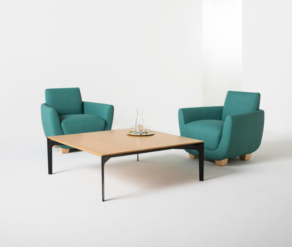 Perching a 3/4-inch glass or wooden tabletop on a steel beveled frame, the YP Coffee Table can be used in professional and residential settings alike.