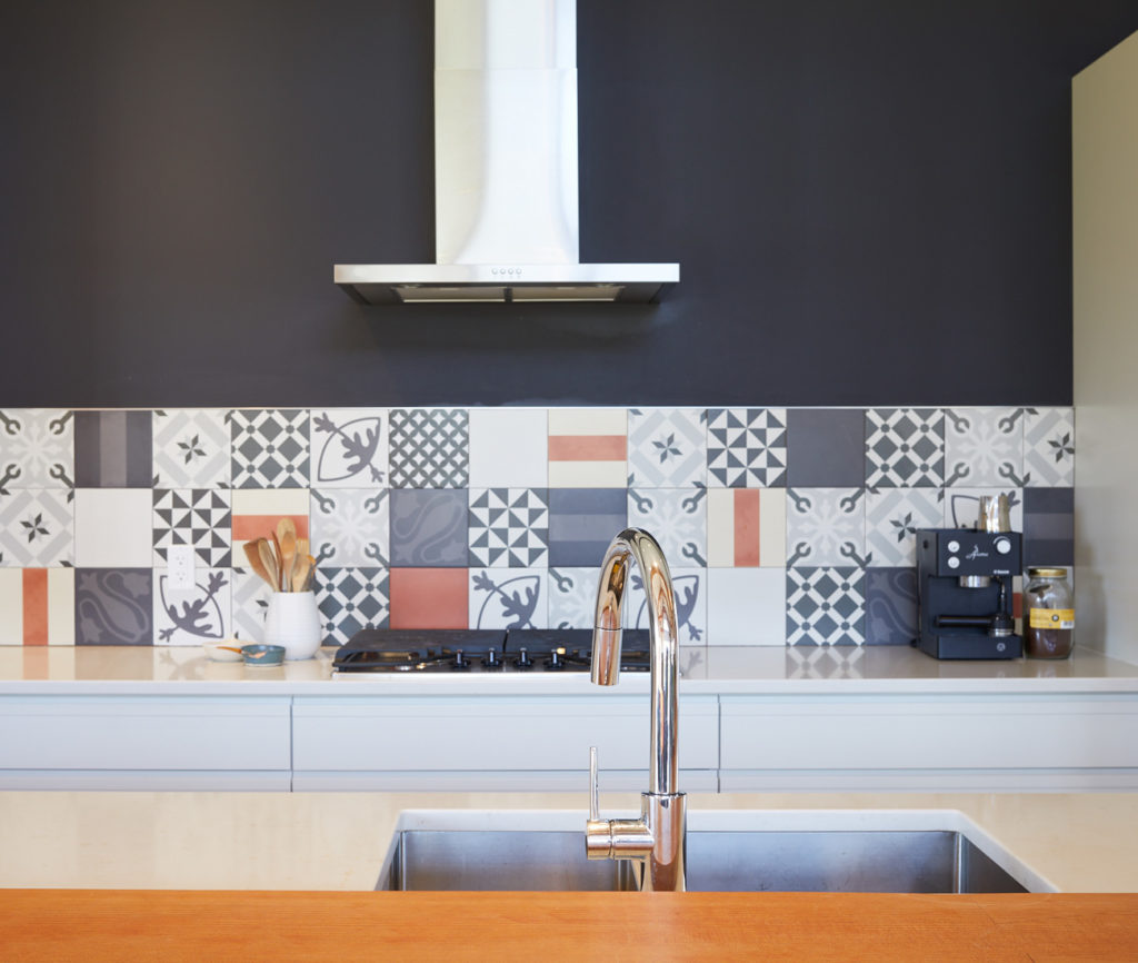 Custom kitchen by Neilson Cabinet Works; tiles from Mettro Source.