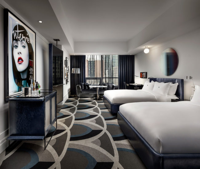 The 47.5-square-metre Grace suite spotlights Studio Munge's custom designs, including a graphic carpet from Vifloor Canada and mirrors by Accura Glass.