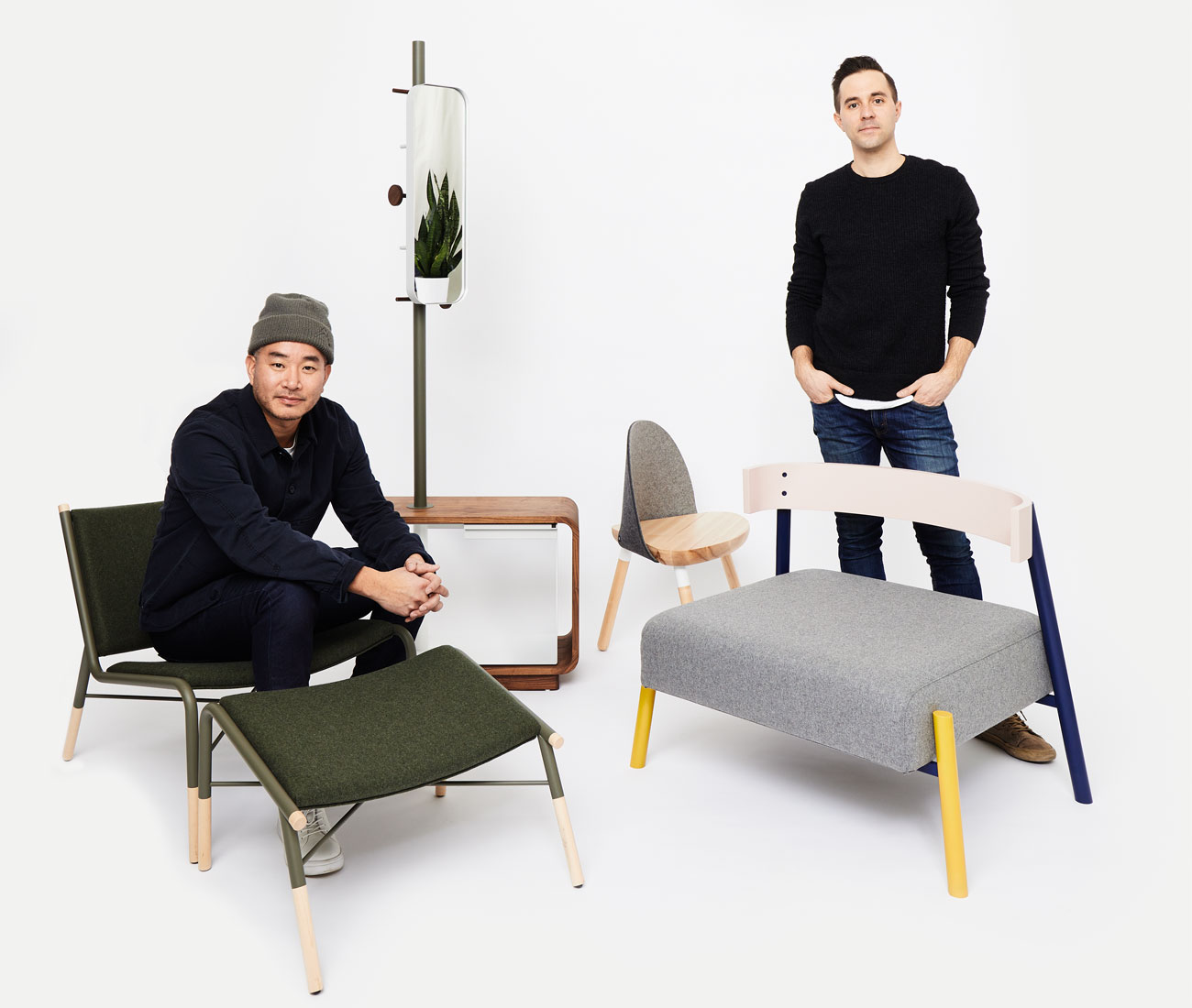 COFO'S Desmond Chan and Randy Simmen with the 49N lounge chair and ottoman by Kenny Nguyen and Ian Buckley, The Cinch by Lucas Stanois, The Garcia by Mary Anne Garcia, and The Roque by Trish Roque.