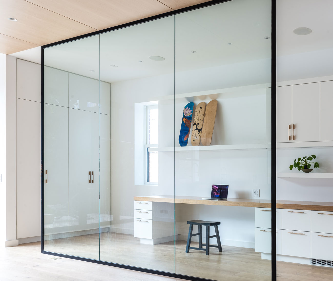 The a light-drenched studio faces the kitchen.