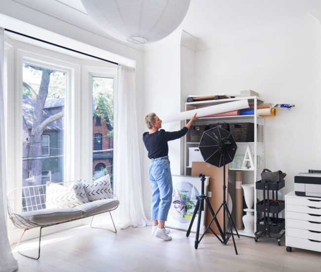 On the second floor, Church turned a spare room with a bay window into her studio.