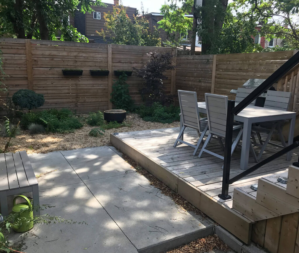 Couvrette and his wife Alison designed the backyard space. The backyard dining set is yet another Kijiji find.