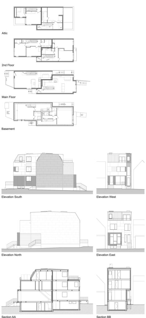 The floorplans show the generous layouts and where the two houses intertwine, thanks to the meandering common wall.