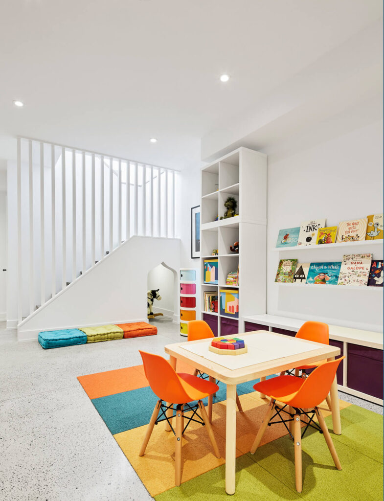 With durable Flor carpet tiles, the kids' play area is ready to stand up to years of use. Furnishings were purchased at Kids at Home.