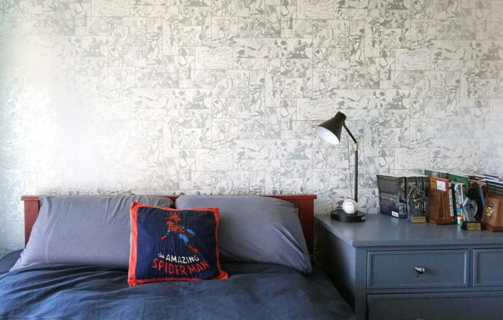The home was designed to be not too big, and not too small, and will age gracefully with the family. Like an old comic book, the Marvel wallpaper in one of the kids' bedrooms will age gracefully, too.