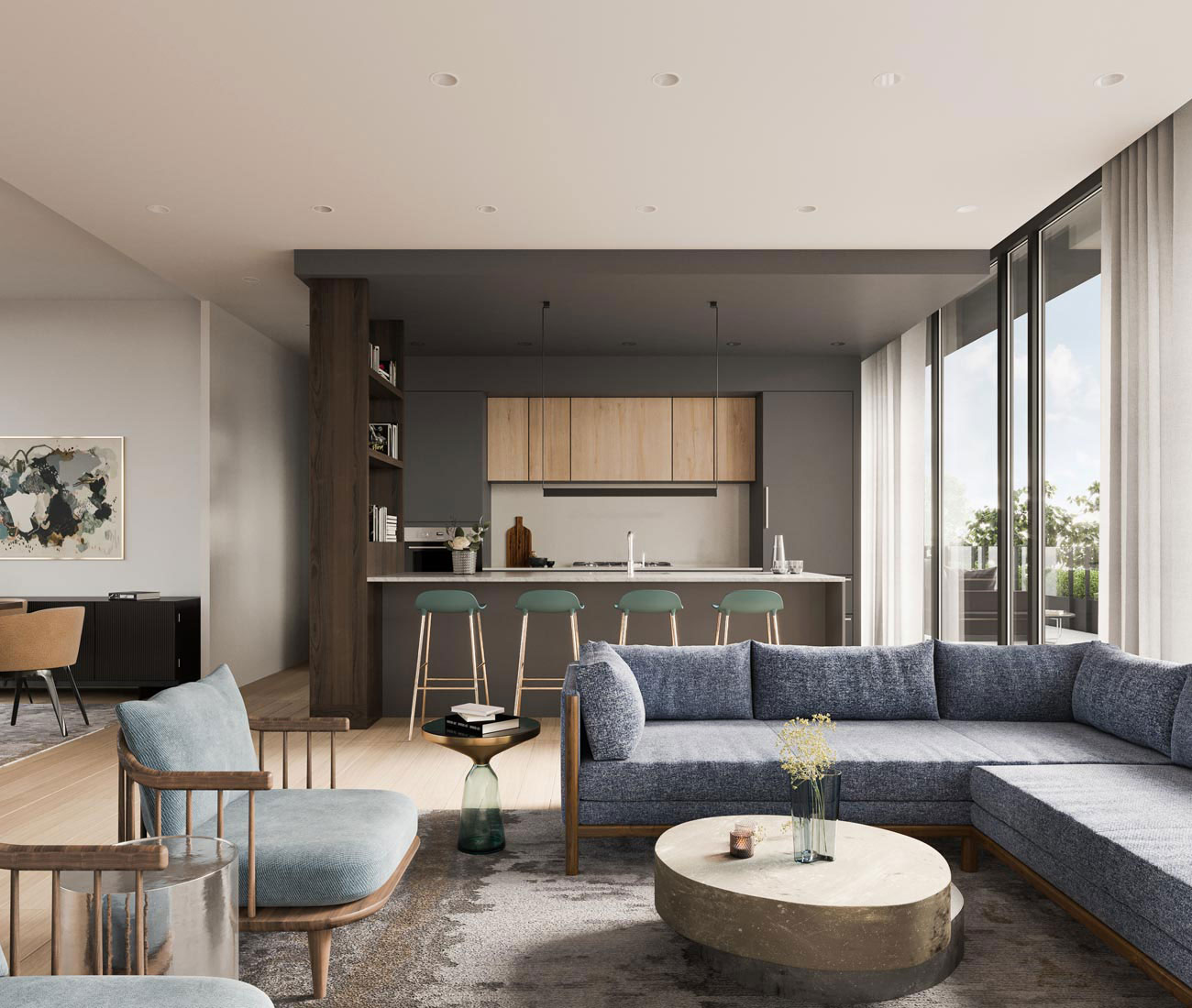 A rendering of a condo in 1414 Bayview, whose interior is being designed by Sixteen Degree Studio.