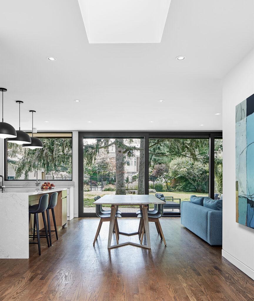One large skylight, from Velux, illuminates both kitchen and family room.