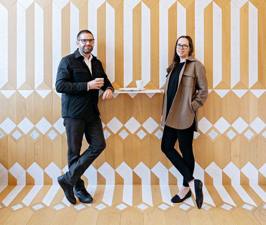 Andrew and Jodi Batay-Csorba, seen here in Milky's Coffee, which they designed. Photo by Arash Moallemi.