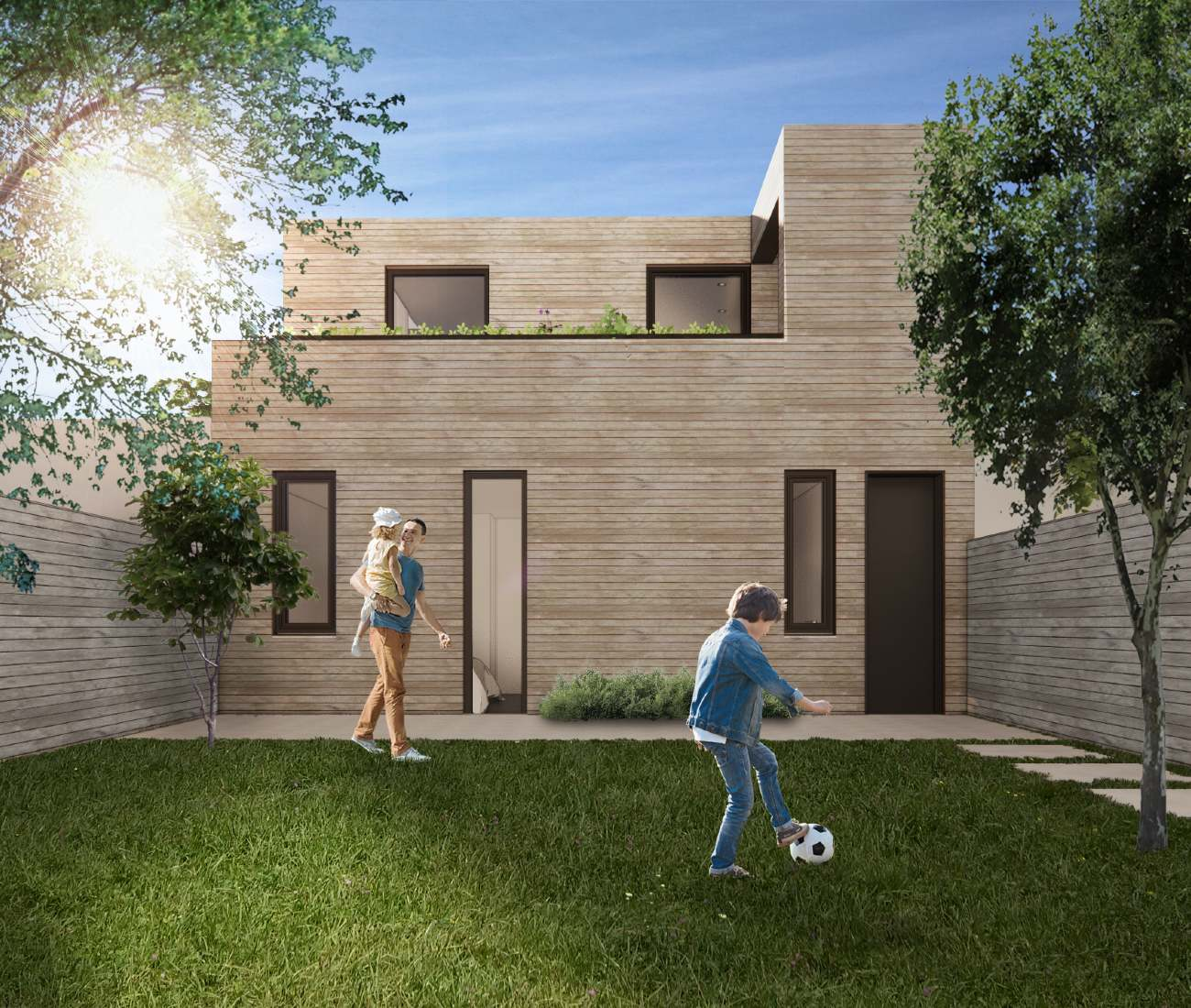 Up top, the bedroom has a private walk-out patio, which extends onto the green roof and overlooks the shared backyard. Render courtesy of Superkül.