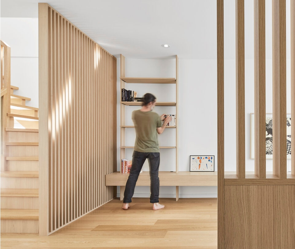 Architect Andrew Sun built functionality into every part of the home. Shelves have embedded LEDs.